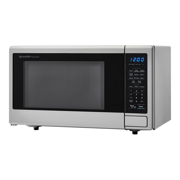 Sharp Carousel 1.1 Cu Ft Microwave Oven, Silver/Black