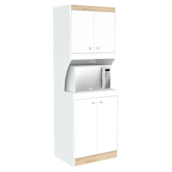 Inval Microwave/Kitchen 23-5/8 W Storage Cabinet, White/Vienes Oak