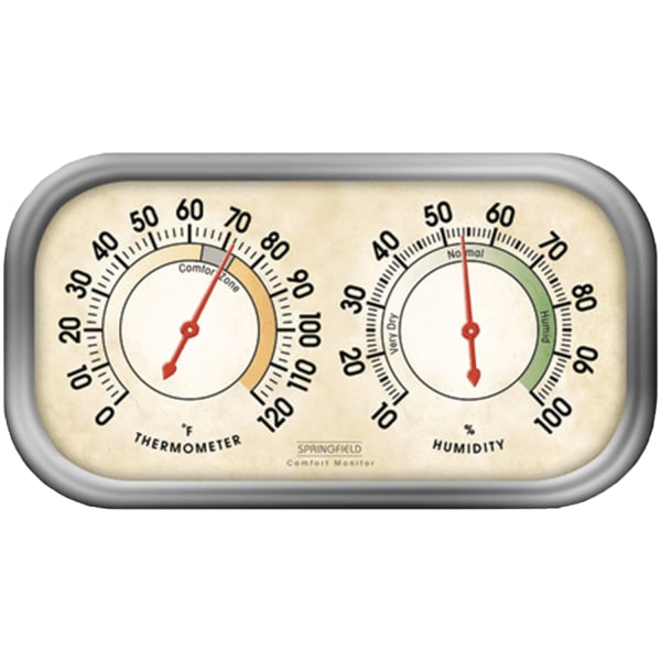 Springfield Colortrack Hygrometer & Thermometer - Hygrometer/Thermometer - Temperature, Humidity - Gray -  LIFETIME BRANDS INC., 90113-1