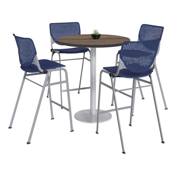 KFI Studios KOOL Round Pedestal Table With 4 Stacking Chairs, 41 H x 36 D, Studio Teak/Navy