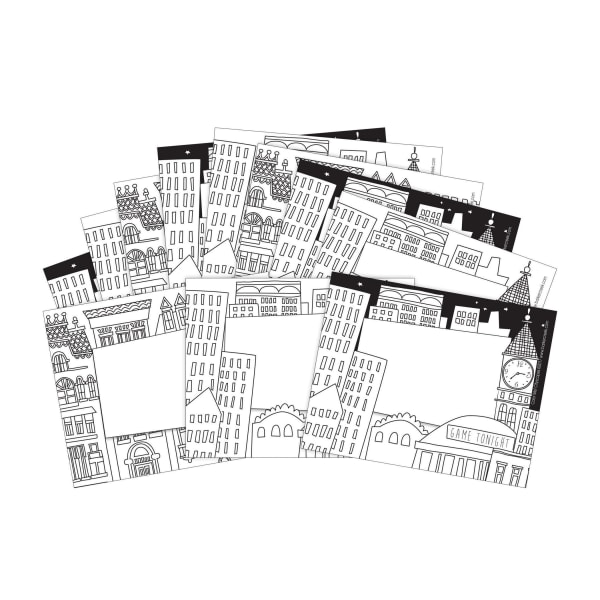Barker Creek Name Tags, 3 3/4  x 2 1/2 , Color Cityscape, 45 Name Tags Per Pack, Case Of 2 Packs