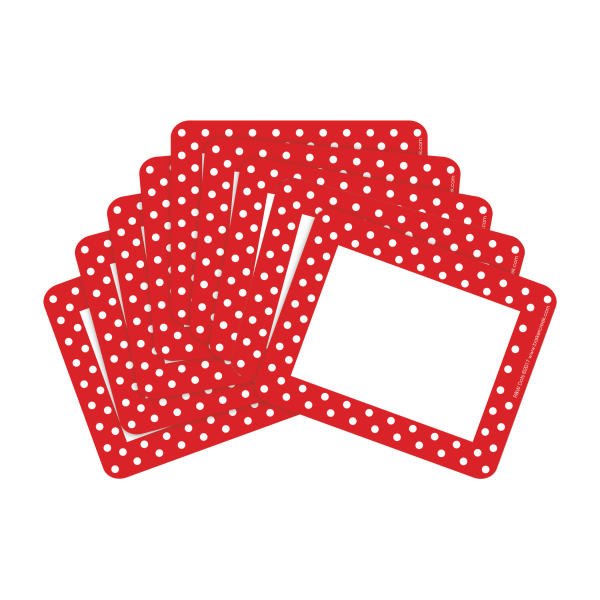 Barker Creek Name Tags, 3 3/4  x 2 1/2 , Red And White Dots, 45 Name Tags Per Pack, Case Of 2 Packs