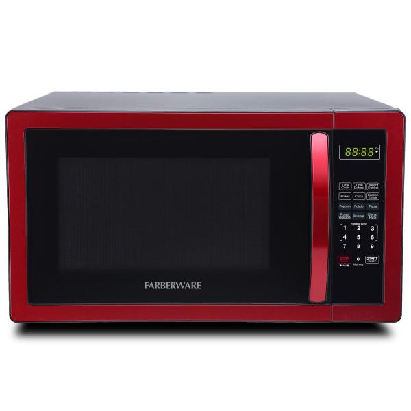 Farberware Classic 1.1 Cu Ft Countertop Microwave, Metallic Red