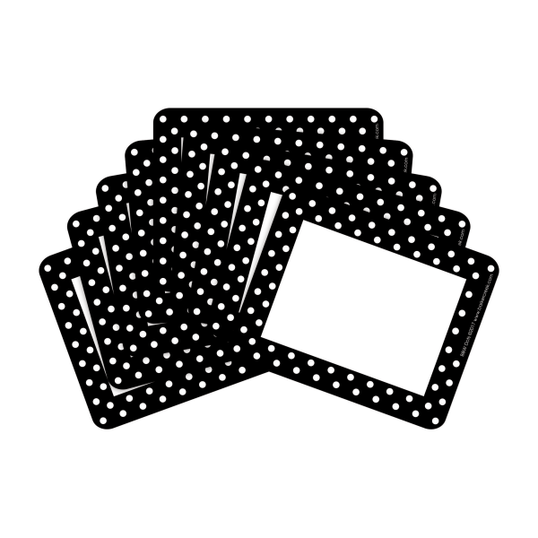 Barker Creek Name Tags, 3 3/4  x 2 1/2 , Black And White Dots, 45 Name Tags Per Pack, Case Of 2 Packs