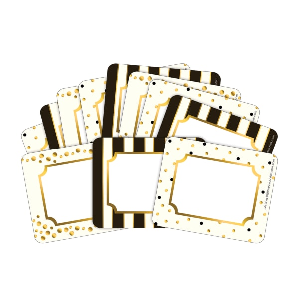 Barker Creek Name Tags, 3 3/4  x 2 1/2 , Gold, 45 Name Tags Per Pack, Case Of 2 Packs