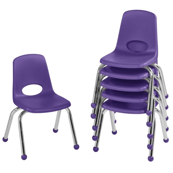 Factory Direct Partners 12  Stacking Chairs With Ball Glides, Purple, Pack Of 6 Chairs