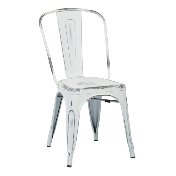 Office Star Bristow Armless Chairs, Antique White, Set Of 2 Chairs