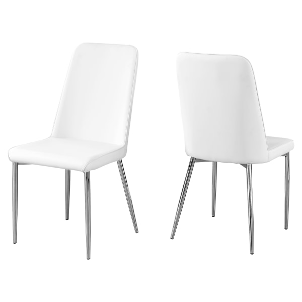 Monarch Specialties Aaliyah Dining Chairs, White/Chrome, Set Of 2 Chairs