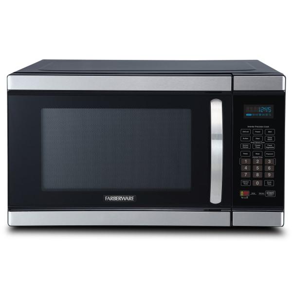 Farberware Gourmet FMO11AHTBKJ 1.1 Cu Ft Microwave Oven, Stainless Steel/Black