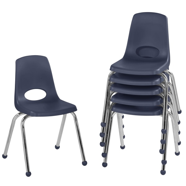 Factory Direct Partners 16  Stacking Chairs With Ball Glides, Navy, Pack Of 6 Chairs