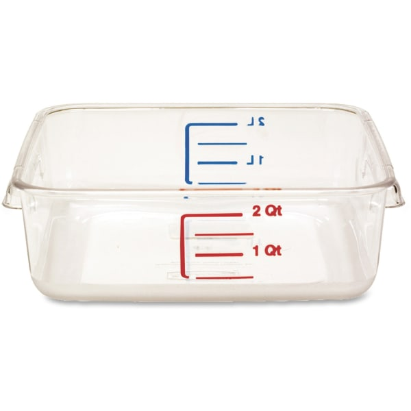 Rubbermaid Storage Container, Square, 8.8 x2-7/10  , 2 Quart, 12/CT, CL - 2 quart Food Container - Polycarbonate - Dishwasher Safe - Clear - 12 Piece(