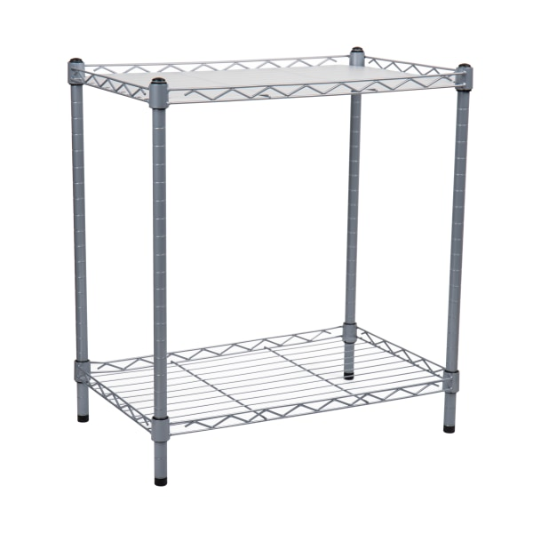 Mind Reader 2-Tier Microwave Shelf And Rack With 6 Hooks, Silver