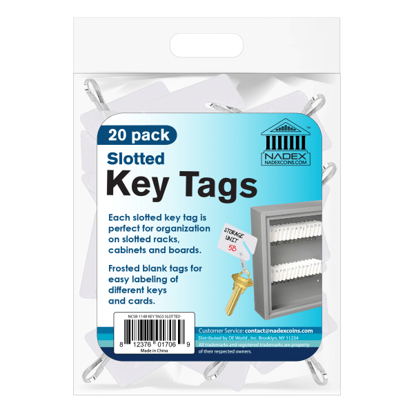 Nadex Slotted Key Tags, White, Pack Of 20 Tags