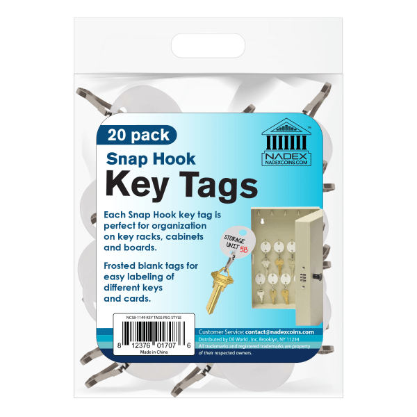 Nadex Oval Key Tags, White, Pack Of 20 Tags