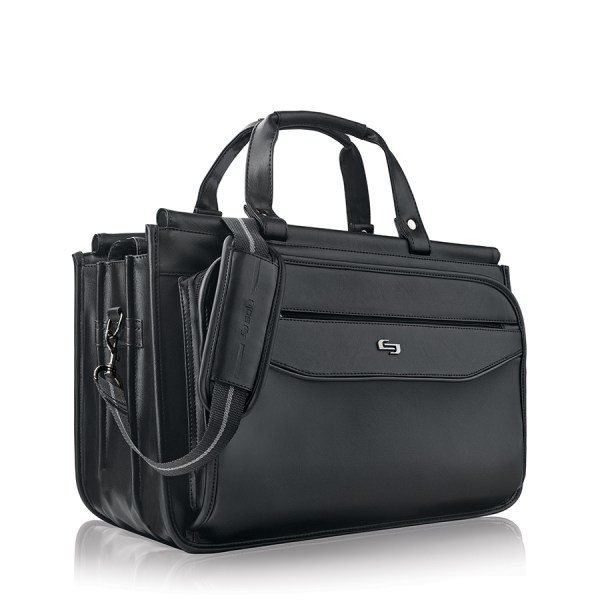 Solo Harrison Triple Compartment Briefcase For 15.6  Laptops, Black
