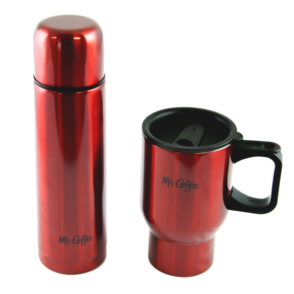 Mr. Coffee Javelin 2-Piece Double-Wall Thermos And Travel Mug Gift Set, Red