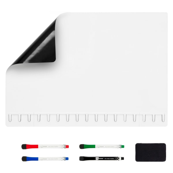 Note Tower Magnetic Dry-Erase Whiteboard Refrigerator Board, 12  x 17 , White