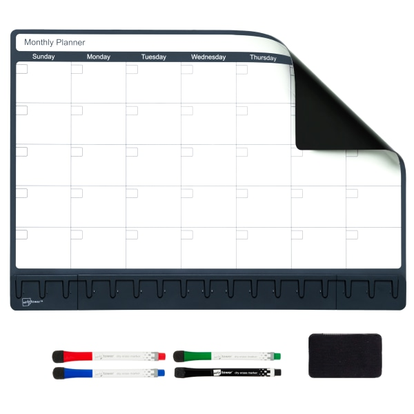 Note Tower Magnetic Dry-Erase Whiteboard Refrigerator Calendar Board, 12  x 17 , White