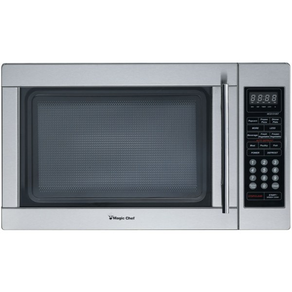 Magic Chef 1.3 Cu Ft Countertop Microwave, Stainless Steel