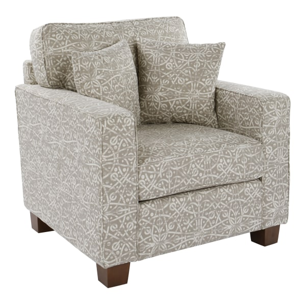 Office Star Starling Accent Chair With 2 Pillows, Spiral Dove/Coffee