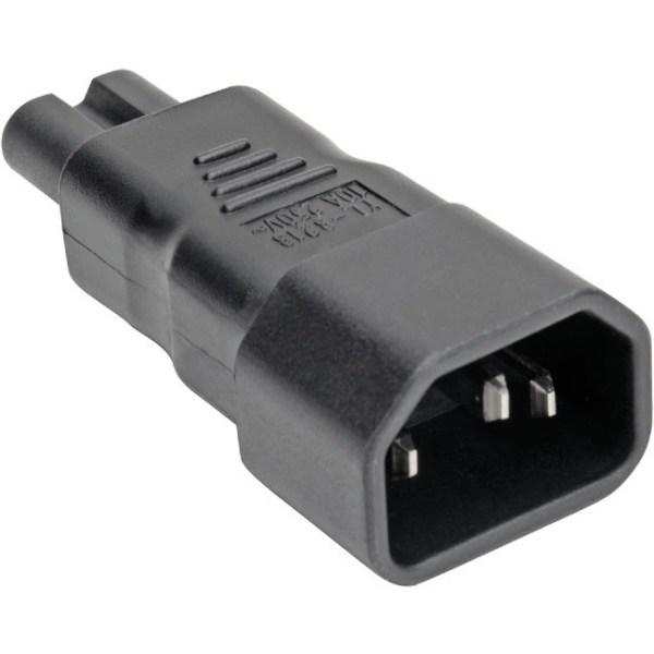 Tripp Lite IEC C14 to IEC C7 Power Cord Adapter - 10A, 250V, Black - Power connector adapter - IEC 60320 C14 to IEC 60320 C7 - AC 100-250 V - 10 A - b
