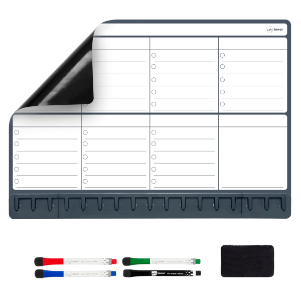 Note Tower Magnetic Dry-Erase Whiteboard Refrigerator Weekly Planner Board, 12  x 17 , Black/White