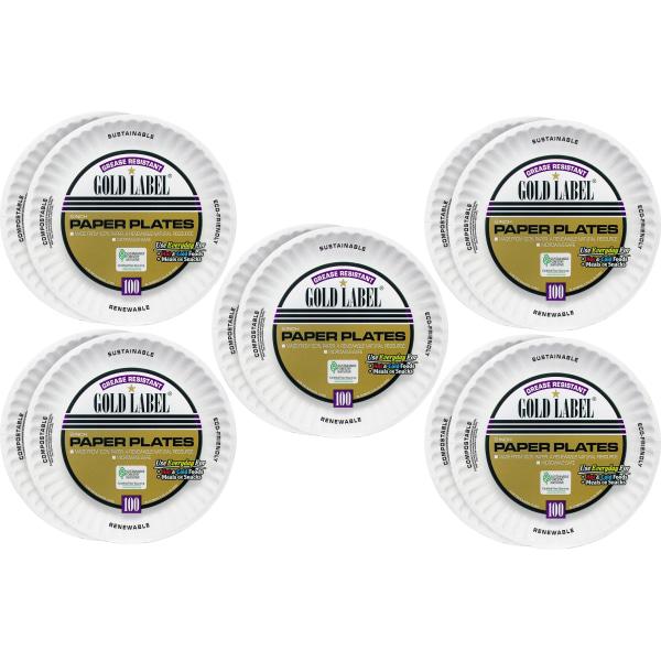 AJM Plates, Paper, 9 Dia, 1000/CT, White - 9  Diameter Plate - Paper Plate - Serving - Disposable - Microwave Safe - White - 1000 Piece(s) / Carton
