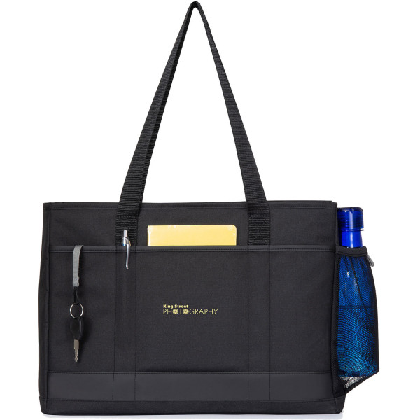 Custom Mobile Office Computer Tote For 17  Laptops, 7  x 6-1/4 , Black