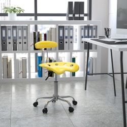 Flash Furniture Vibrant Low-Back Task Chair With Tractor Seat, Orange-Yellow/Chrome