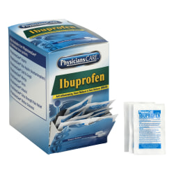 PhysiciansCare Ibuprofen Pain Reliever Medication, 2 Tablets Per Packet, Box of 50 Packets