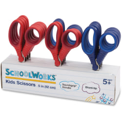 "Fiskars Schoolworks 5"" Kids Scissors Classpack - 5"" Overall Length - Left/Right - Stainless Steel - Blunted Tip - Assorted - 12 / Set"