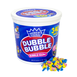 Dubble Bubble America's Original Bubble Gum Tub, 53.9-Oz Tub, 340 Pieces