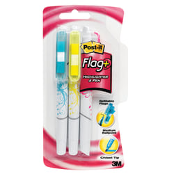 Post-it® Flag Pen/Highlighters, Chisel Point, 0.7 mm, Black Barrel, Assorted Ink Colors, Pack Of 3