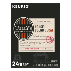 Tully's® Coffee House Blend Decaffeinated Coffee Single-Serve K-Cup®, Carton Of 24