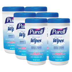 PURELL® Clean Scent Hand Sanitizing Wipes - Clean - White - Durable, Alcohol-free - For Hand - 40 Quantity Per Canister - 6 / Carton