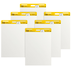 "Post-it® Super Sticky Easel Pads, 25"" x 30"", White, Pack Of 6 Pads"