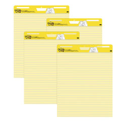 """Post-it® Super Sticky Easel Pads, Lined, 25"""" x 30"""", Yellow, Pack Of 4 Pads"""