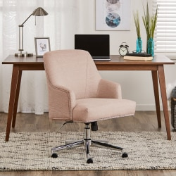 Serta® Leighton Home Mid-Back Office Chair, Twill Fabric, Blush Pink/Chrome