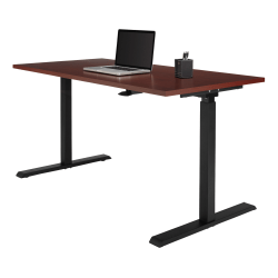 "Realspace® Magellan 60""W Pneumatic Height-Adjustable Standing Desk, Classic Cherry"