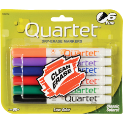 Quartet® Dry-Erase Markers, Fine Point, Assorted Colors, Pack Of 6