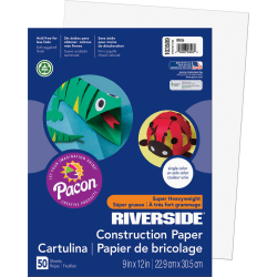 """Riverside® Groundwood Construction Paper, 100% Recycled, 9"""" x 12"""", White, Pack Of 50"""