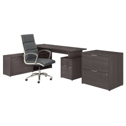 """Bush Business Furniture Jamestown 72""""W L-Shaped Desk With Lateral File Cabinet And High-Back Office Chair, Storm Gray, Premium Installation"""