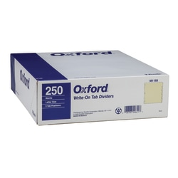 Oxford™ Manila Tab Dividers, Blank, 5-Tab, Box Of 50 Sets