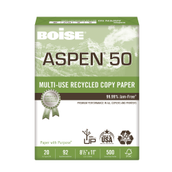 """Boise® ASPEN® 50 Multi-Use Paper, Letter Size (8 1/2"""" x 11""""), 20 Lb, 50% Recycled, FSC® Certified, Ream Of 500 Sheets"""