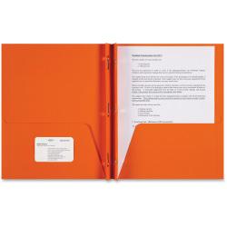 Sparco 3-Prong Leatherette Portfolios, 2 Pockets, Letter Size, Orange, Box Of 25 Portfolios