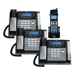 Telefield RCA 4-Line DECT 6.0 Expandable Cordless/Corded Phone System With Digital Answering System, RCA-5DSKBNDL