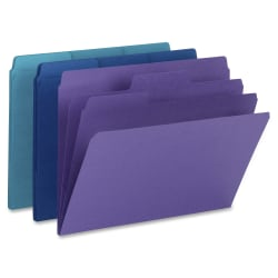 """Smead® SuperTab® Organizer Folders, Letter Size, 3/4"""" Expansion, 1/3 Tab Cut, Assorted Colors, Pack Of 3"""
