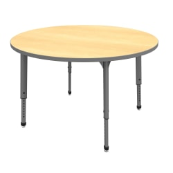 "Marco Group™ Apex™ Series Round Adjustable Tables, 30""H x 48""W x 48""D, Maple/Gray"