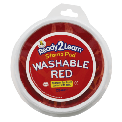 Center Enterprises Jumbo Circular Washable Paint/Ink Pads, 1 Oz, Red, Pack Of 6