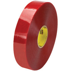 """3M™ 3779 Pre-Printed Carton Sealing Tape, 3"""" Core, 2"""" x 1,000 Yd., Clear/Red, Case Of 6"""
